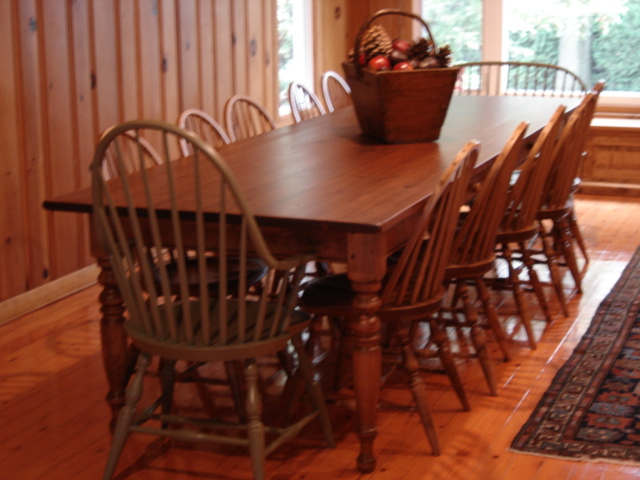 Superieur 10ftx42inch Turn Leg Harvest Table W Windsor Chairs