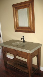 Custom Vanity four post sink stand concrete sink w custom mirror