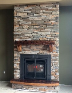 Custom vintage pine mantle, brackets, hearth