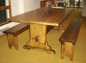 Dining Table 7ftx40inch trestle base table w matching farm benches