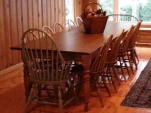 10ftx42inch Turn Leg Harvest Table w Windsor Chairs
