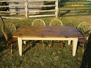 6.5Ft X 38 Inch Harvest Table - 5 Inch Shaker Legs. Algonquin Paint Base. Extensions Avail