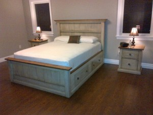 Queen custom bed w 4 drawer storage and 2 drawer nightstand