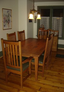 "6'x40"" Cherry Harvest Dining Table w Scholar Chairs"