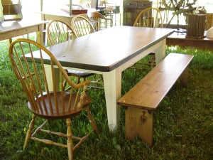 "6 1/2'x40"" 5"" Large Shaker Leg Table and Farmhouse Bench"