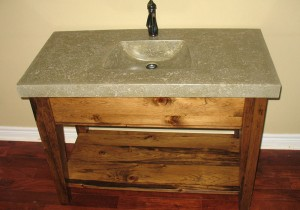 Custom Vanity four post sink stand concrete sink