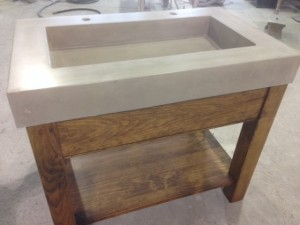 Custom four post vanity w shelf and concrete sink