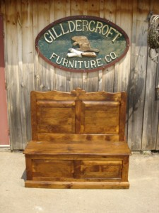 Vintage pine paneled bench - w flip top storage 48x48x20
