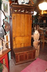 Rustic farm house door bench w storage and cubby shelf
