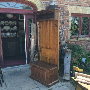 Rustic hall stand lift top storage 2