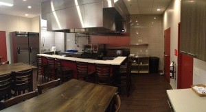 Commercial Test Kitchen w bar height tables and stools